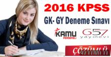 2016 KPSS Genel Kültür Genel Yetenek Deneme Sınavı